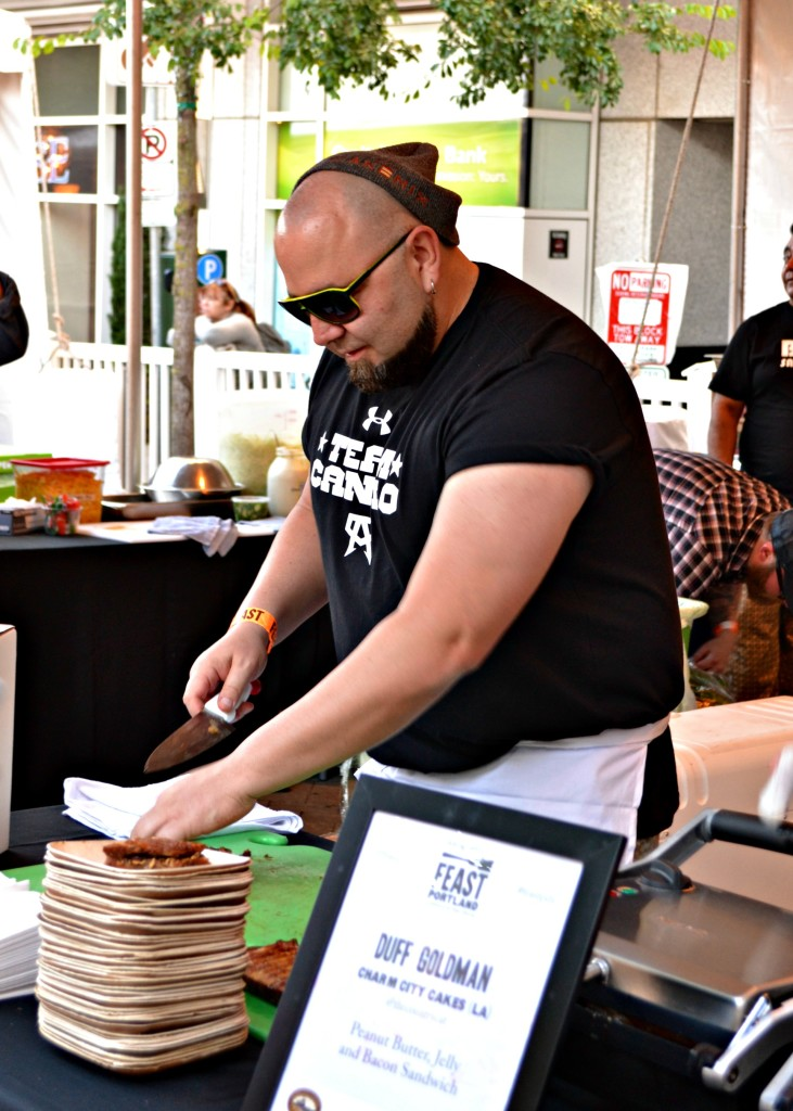 Duff Goldman grilled up Peanut Butter, Jelly and Bacon sandwiches