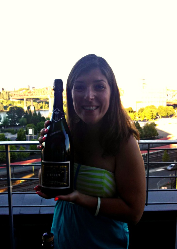 Celebrating our new place with magnum bottle of champagne!