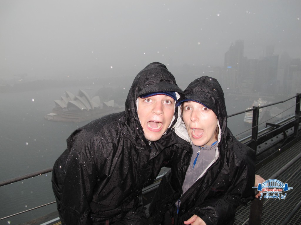 At the top of the Sydney Harbour Bridge in Australia.