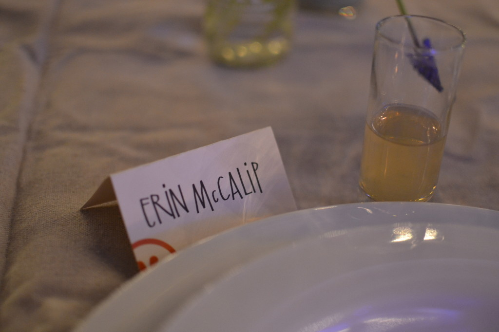 I was so mesmerized by how pretty the space was that I didn't realize for about 2 hours that my name was spelled incorrectly (my last name is Mckalip). Nevertheless I was still obsessed with the decorations.