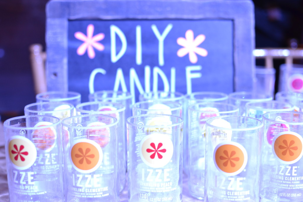"""There was even a fun """"make-your-own candle using an IZZE bottle"""" station"""