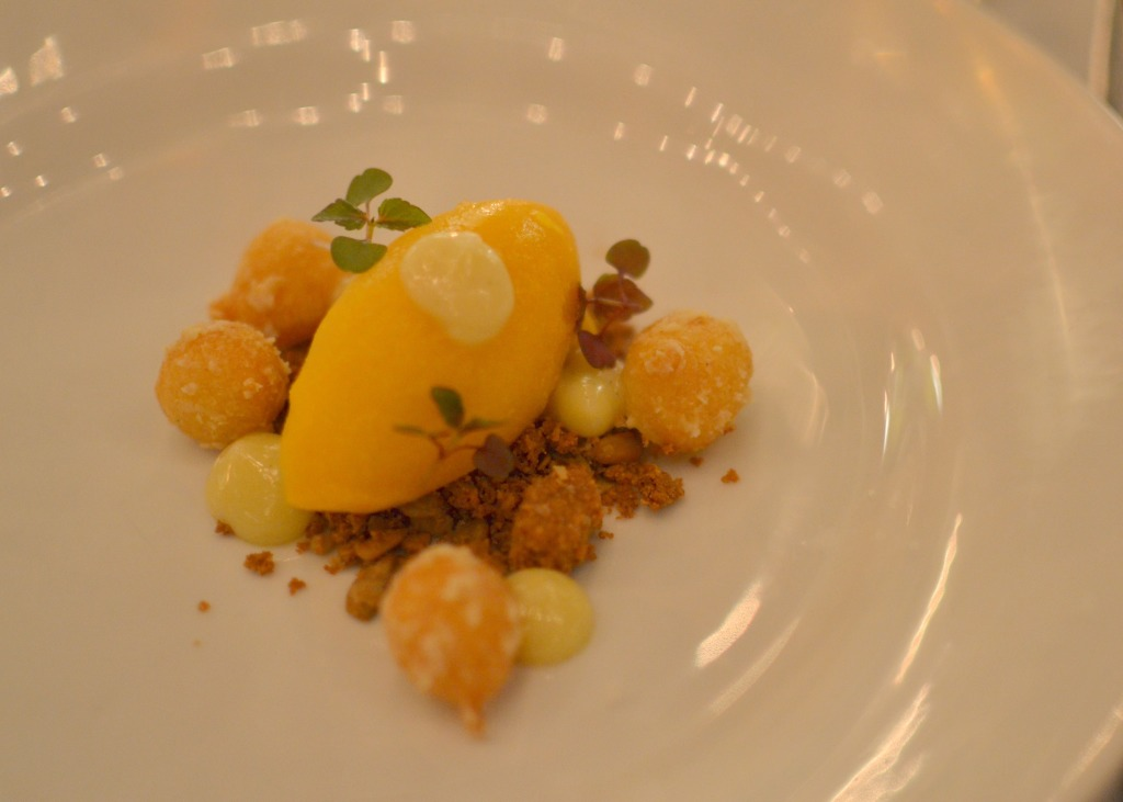 Dinner Series - How dinner should always be: squash sorbet, grilled lemon, yellow curry donuts, and sunflower seed brittle from Andrew Lewis of Austin's Uchi Restaurants