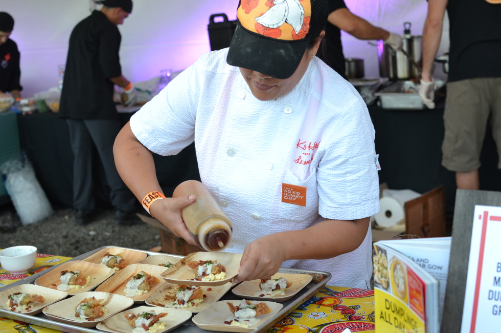 Chef Lee Anne Wong of Koko Head Cafe in Honolulu preparing her Breakfast Dumpling with Maple Sriracha Pork