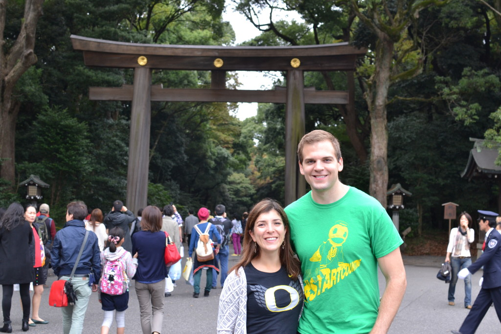 Repping the Ducks in front of the Meiji Shrine in Tokyo
