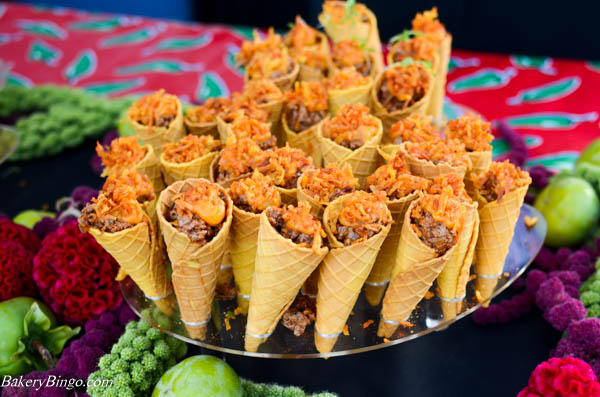 Chesa's adorable waffle cones filled with escabeche style duck, avocado, orange-sweet potato, crispy plantain, pimenton-garlic salt, served at Night Market